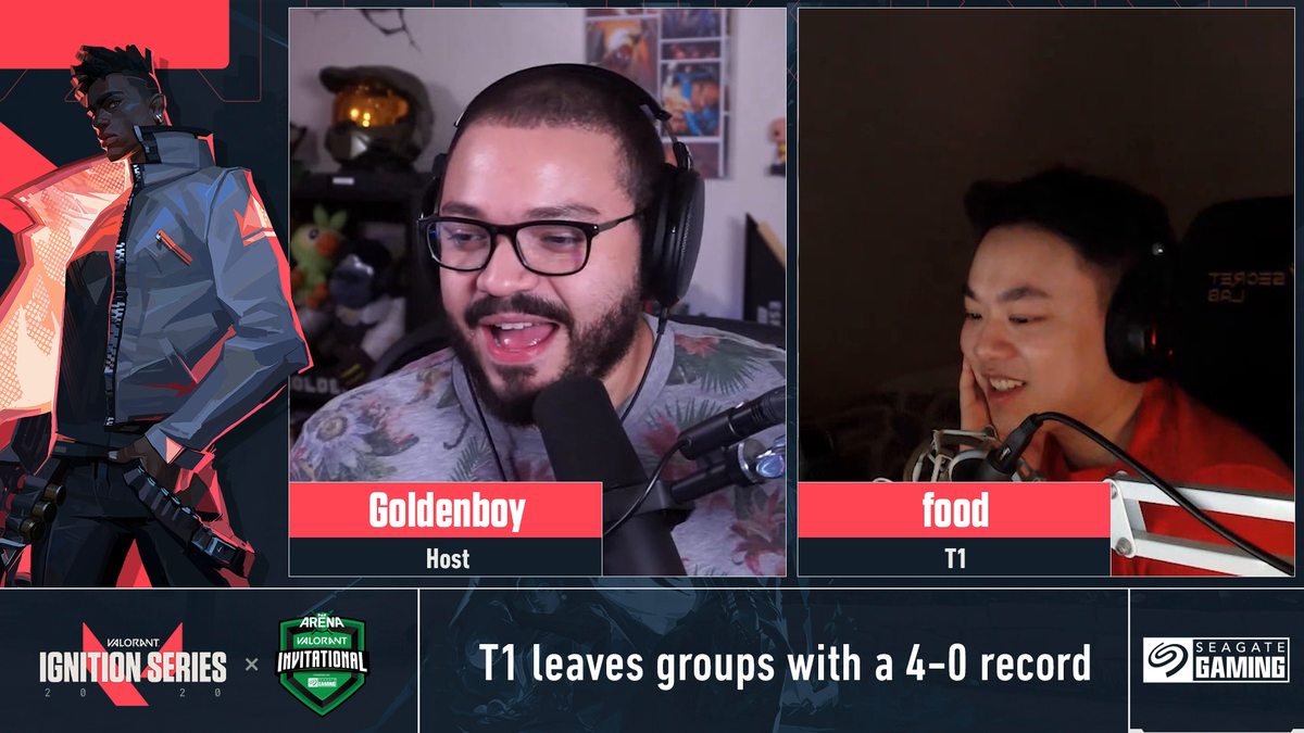 Your host @GoldenboyFTW sits down with @food_cs of @T1 to discuss how the team feels leaving groups with a 4-0 record. Stay tuned for more interviews with pro players from The @PAX Arena VALORANT Invitational @PAXArena #VALORANT #T1 👉 Full 📺: seagate.media/6019TWmc3