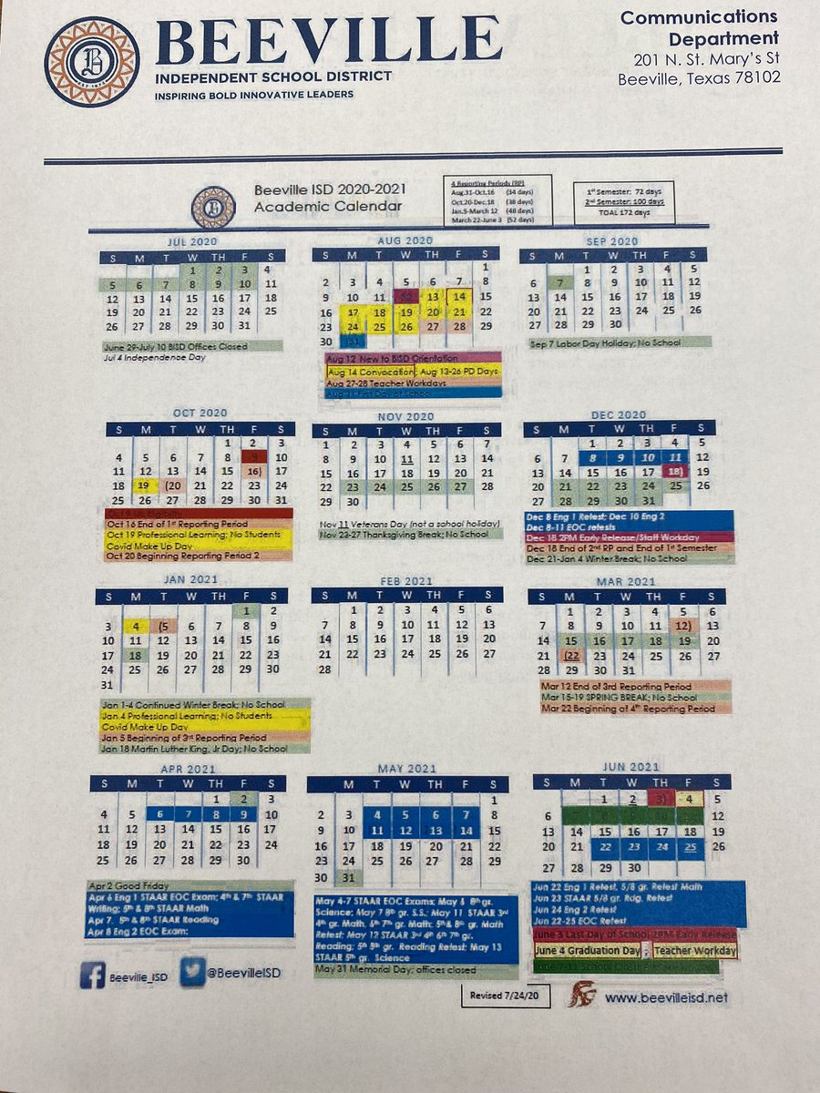 Here is the revised BISD academic calendar!