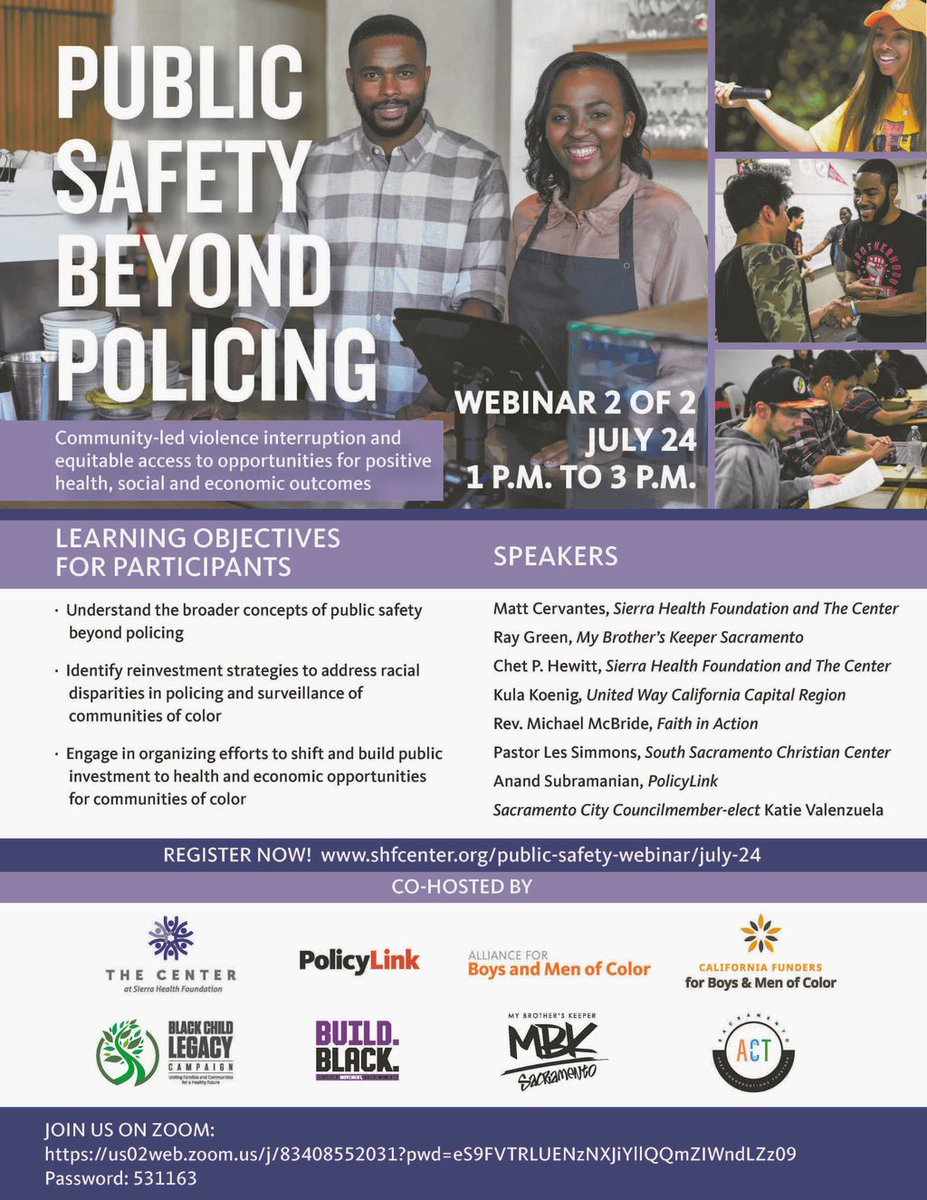 It's not too late to register for tomorrow's webinar! Click the following link to register!  Public Safety Beyond Policing webinar today, July 24 from 1 p.m. to 3 p.m.  Click the following link to register: https://t.co/MrHo76Vsuz https://t.co/NIydC1Vmjo