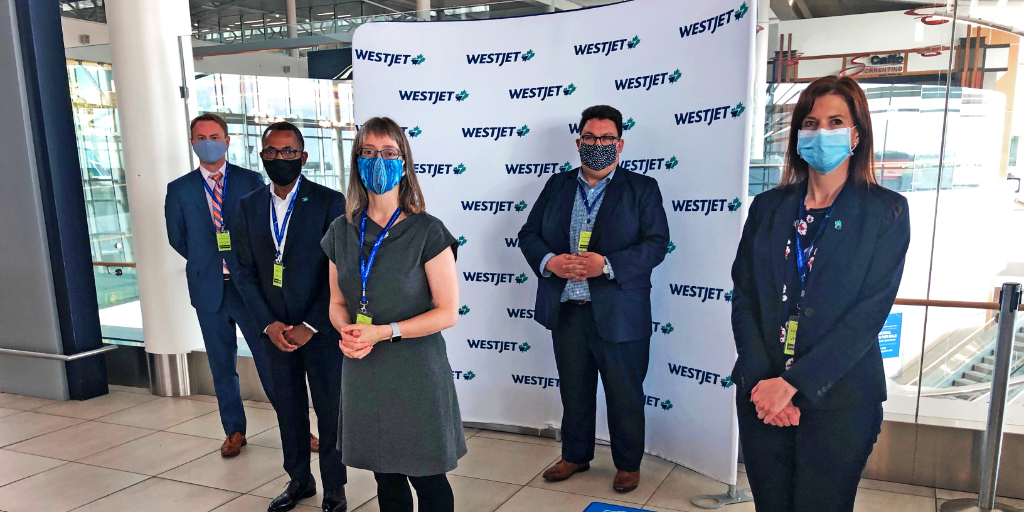 Thanks to @CMOH_Alberta, @tanya_fir and @shandro for the attentive ears and thoughtful questions yesterday as we demonstrated the thorough health and safety measures we've implemented. @FlyEIA, we appreciate your partnership to showcase how we're keeping our guests safe. https://t.co/0PZAian252