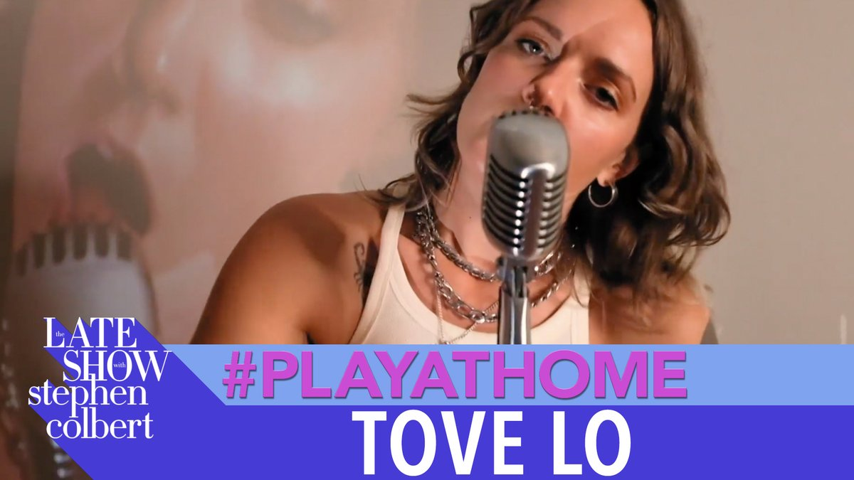 """A Late Show welcomes back @ToveLo for this #PlayAtHome performance of """"sadder badder cooler."""" #LSSC https://t.co/xShrU7Lt7n"""
