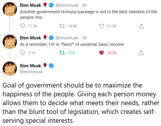 Scott Santens On Twitter Elon Musk Is Literally Talking About A Permanent Stimulus In The Form Of A Check For Everyone That Starts Coming Every Month And Never Stops Aka Permanent Ubi
