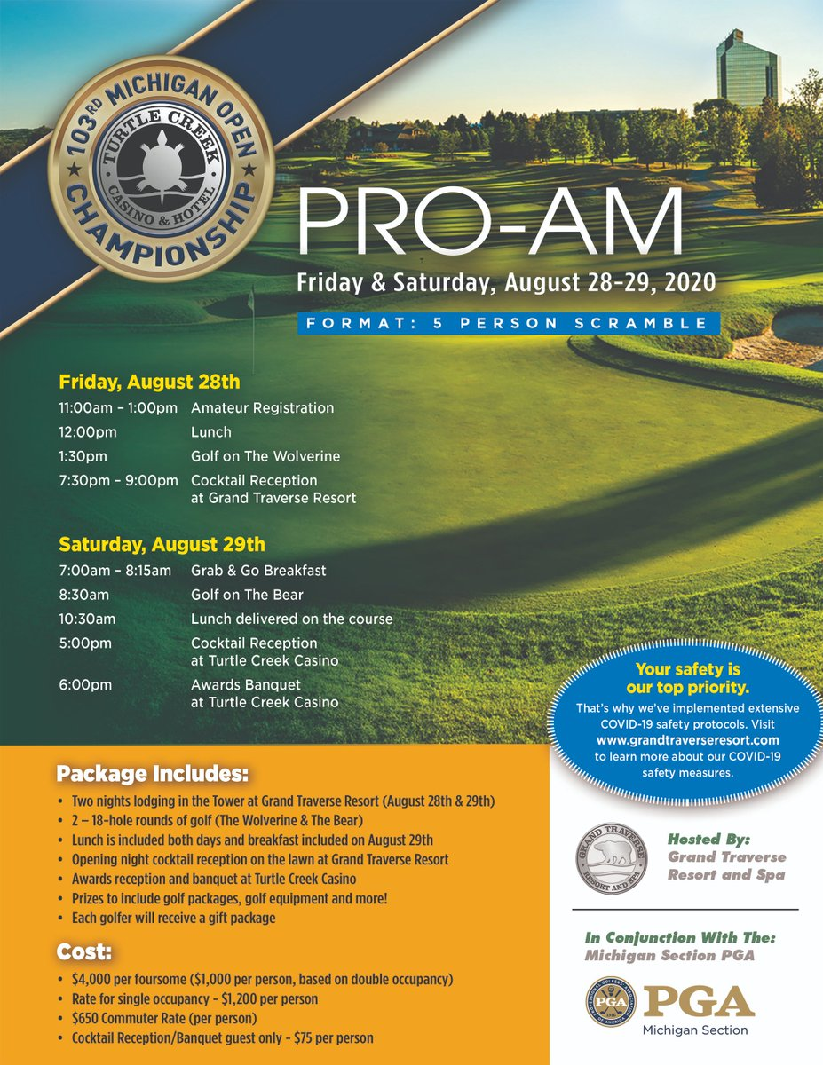 Registration ends this Friday for our Turtle Creek Casino Michigan Open Pro-Am! Register NOW! @TCCasino