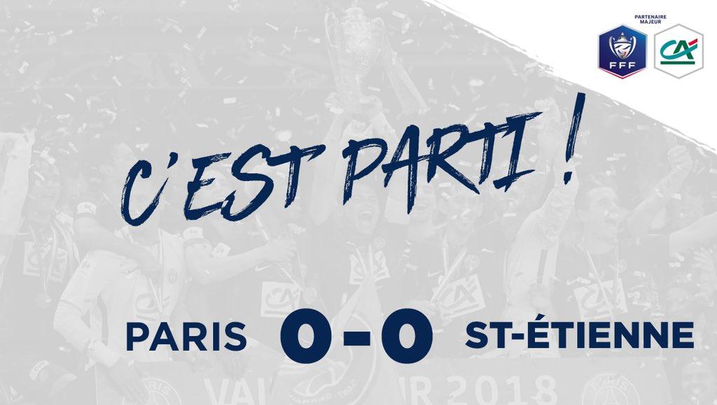PARIS 0-0 ST-ÉTIENNE  Le coup d'envoi de la finale de la @coupedefrance est donné !  Que le meilleur gagne !  #CôtéFoot #SportEcoleDeVie #PSGASSE https://t.co/DT07NbYL9Z
