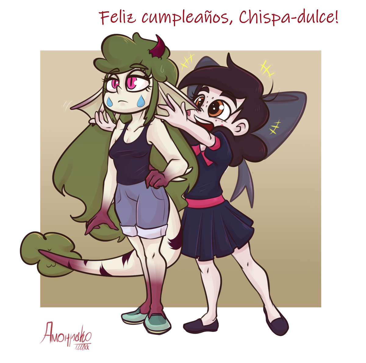 Gift art for my friend Chispa-Dulce at Instagram: https://t.co/hbAHT10D4n  Her Meteora/Rasticore OC Lavanda and my Callista thinking her earflaps are the cutest thing ever.  Check her art and be nice to her. Happy bday! https://t.co/3A7qWfSKfD