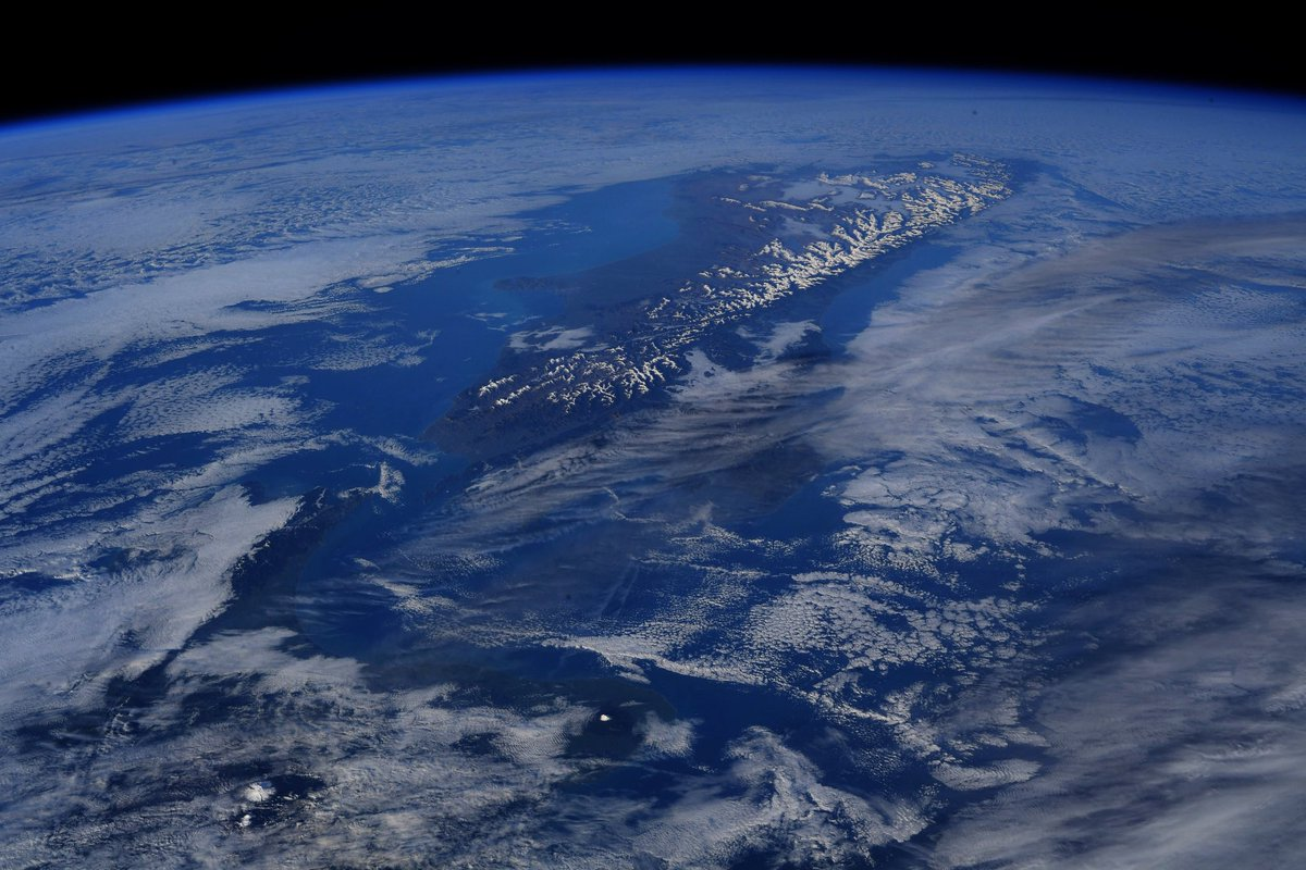 Just after sunrise over New Zealand.