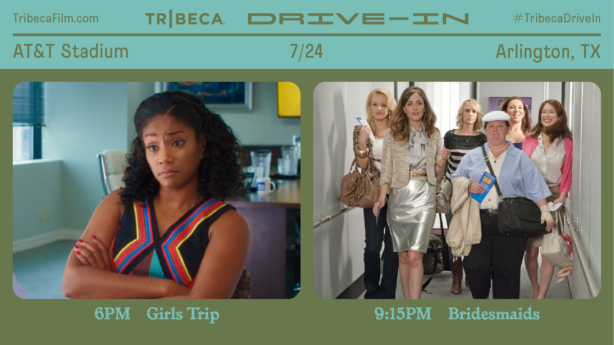 Tonight the @Tribeca Drive-In is bringing girls night is back and its all happening at #ATTStadium!💁♀️ Catch the special double feature of Girls Trip at 6:00 PM followed by Bridesmaids at 9:15 PM. 🎬 Tickets are limited — get yours at TribecaFilm.com/Drive-in/ATTSt… #TribecaDriveIn