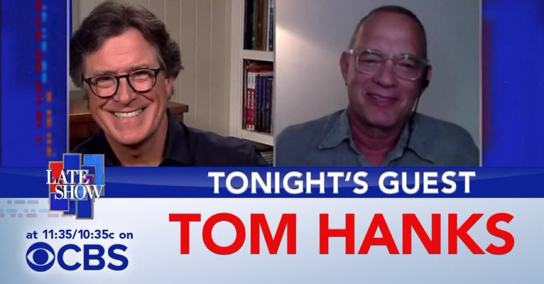 TONIGHT: Stephen chats with @tomhanks about his new @AppleTV movie, 'Greyhound.' #LSSC