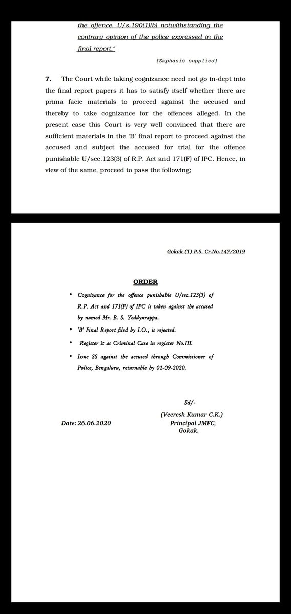 *Summons issued to @CMofKarnataka @BSYBJP by JFMC court in #Gokak #belagavi #Karnataka. On November 23 during election rally at Valmiki stadium Gokak. CM had appealed to #Veerashaiva #Lingayat comunity not to split votes. Cops had filed closure report. But court has rejected it. https://t.co/wKar7lcAPp