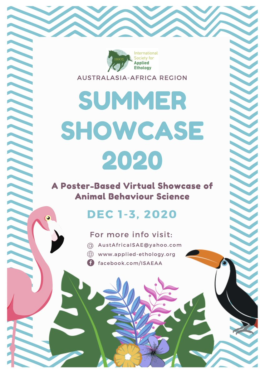 Announcing our 2020 Virtual Poster Conference! Celebrating the fantastic applied #animalbehaviour science in our region!  Abstracts are now open (https://t.co/fsfwrGGJBh) and will close on the 28th of August.  More information on our FB event page: https://t.co/OcA1F6TPjf https://t.co/dCLh1t3zoz