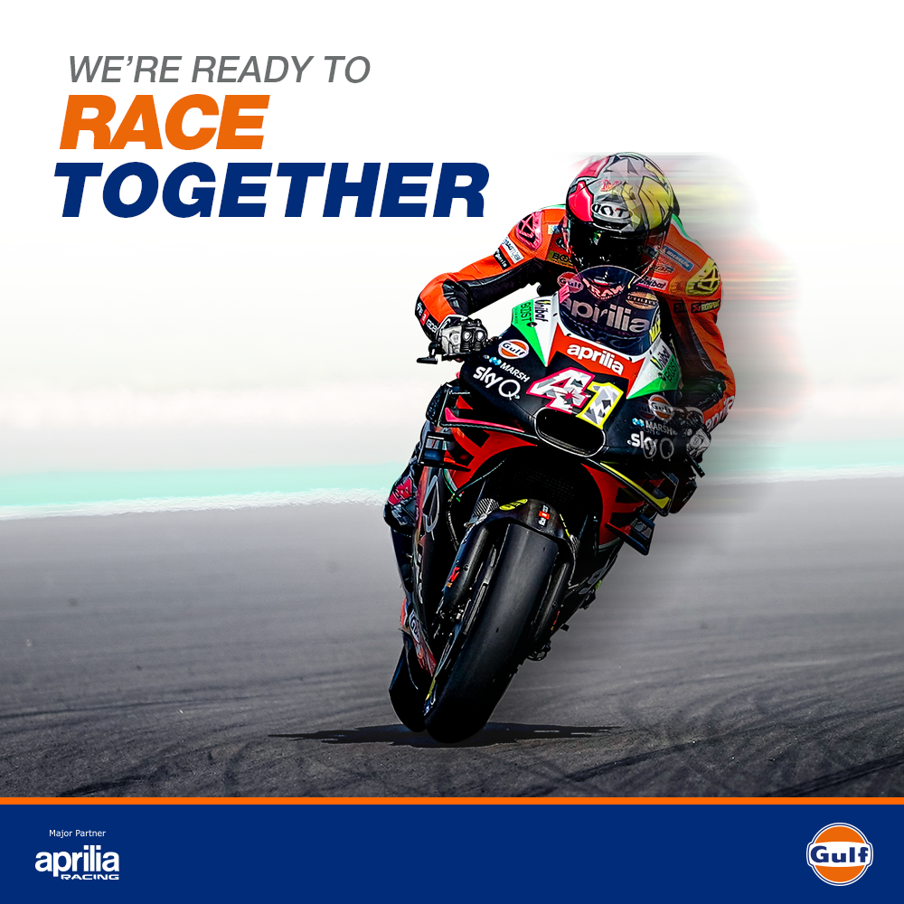 Gulf Oil is raring to go with @aleixespargaro 4️⃣1️⃣ and @bradleysmith38 3️⃣8️⃣! Are you? Show us your excitement in the comments below. 👏🏻  #GulfOilInternational #MotoGP #Racing #Bike #Aprilia #Motorsport https://t.co/dZ0BxS9xHc