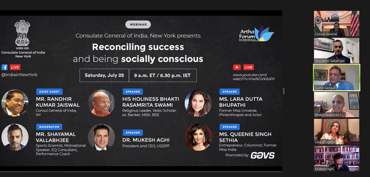 """Consul General Randhir Jaiswal participated in a discussion on Reconciling Success and being Socially Conscious Recalling the age-old Indian maxim """"Vasudhaiva Kutumbakam"""" i.e The World is One Family, urged people to share their progress and prosperity with others. @GavsTech"""