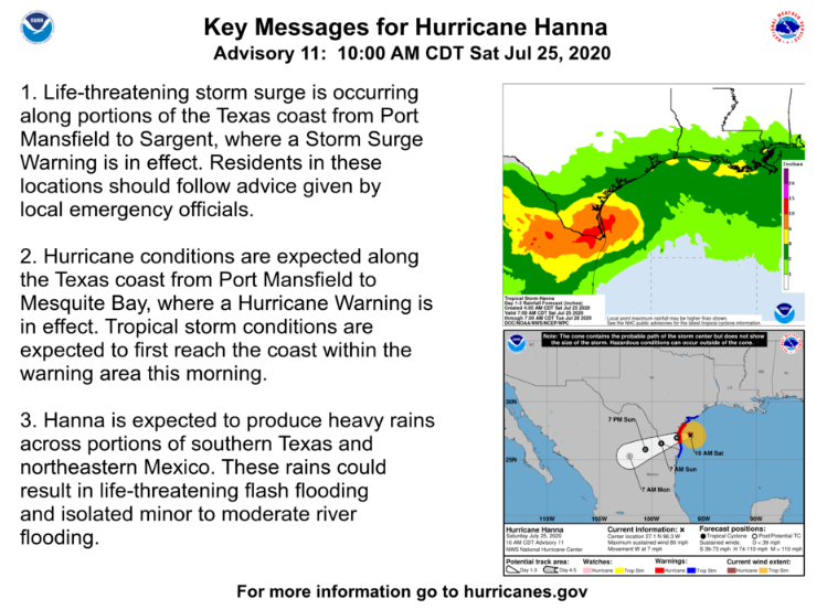 #HurricaneHanna will make South Texas landfall today. People in these areas should be prepared, stay informed, and follow advice from local authorities. Prepare for #COVID19 if evacuated or in crowded quarters. Have multiple masks and hand sanitizer. Source: @NHC_Atlantic