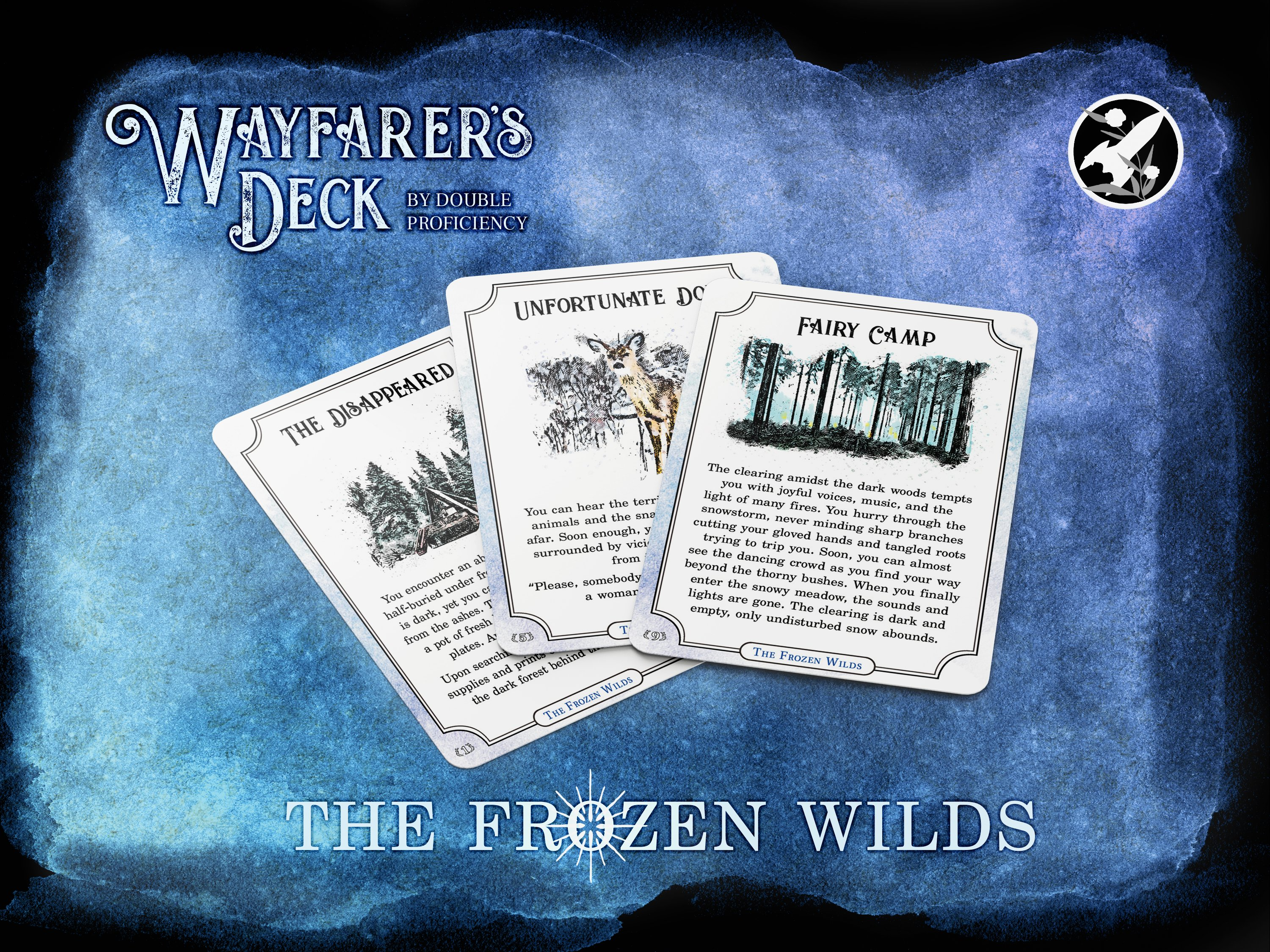 Three cards from the deck: The Disappeared, Unfortunate Doe, and Fairy Camp