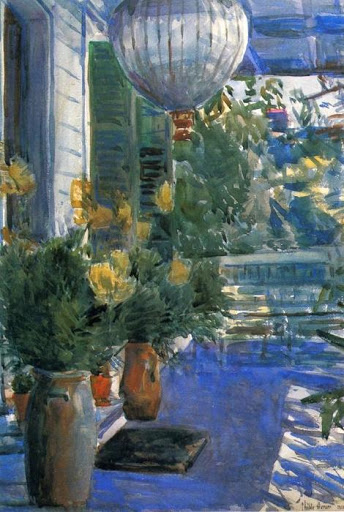 Veranda of the Old House by Frederick Childe Hassam/