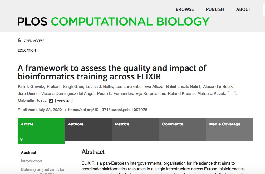 #PLOSCompBio: A framework to assess the quality and #impact impact of #bioinformatics #training across @ELIXIREurope  https://t.co/h5ZcHT7xXA https://t.co/9X25vtubVw