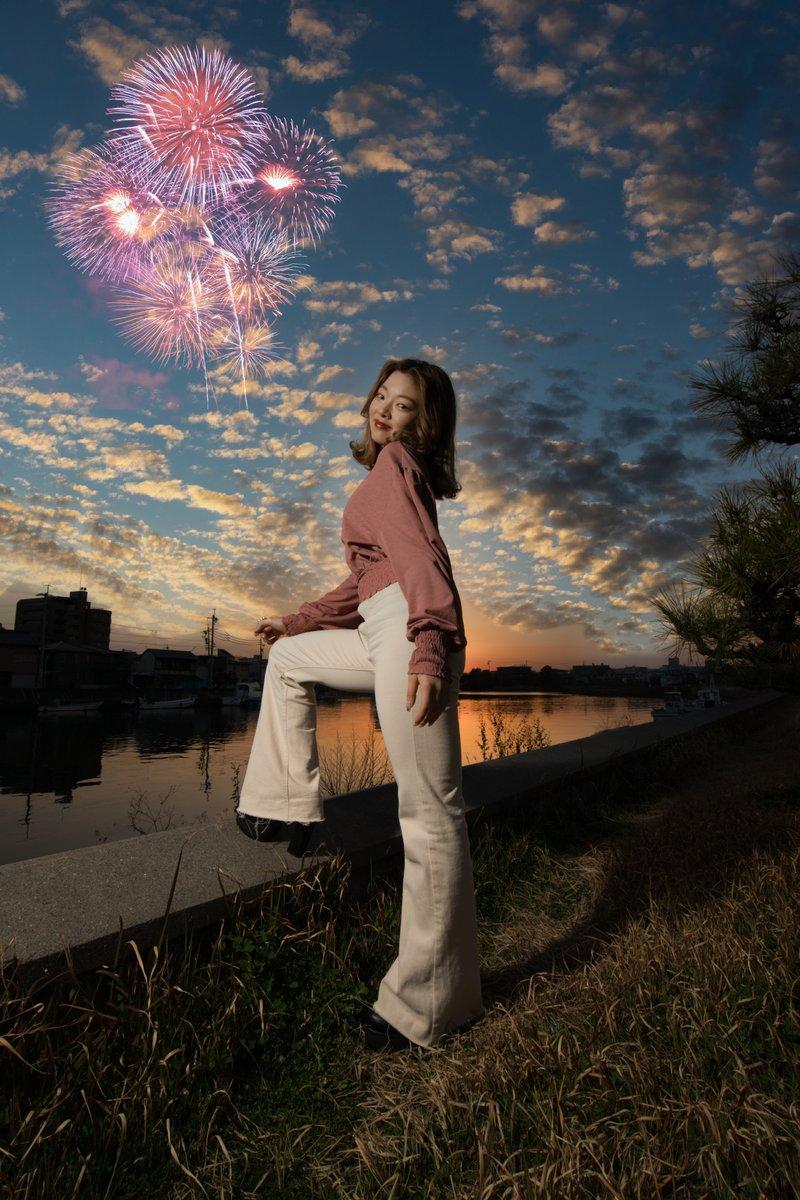 花火、追加しました。。。。 model:サアヤ  #サンセット撮影会  #Luminar4 https://t.co/n962WppYxD