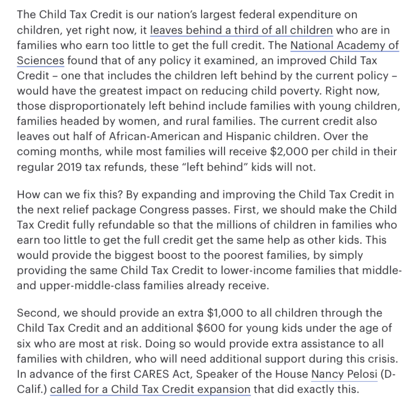 A key solution…  An evidence-based response to rising child poverty — reform and expand the Child Tax Credit | @rosadelauro @RepDelBene @SenatorBennet @SenSherrodBrown - The Hill https://t.co/W6ClZt3Zpz  #EndChildPoverty #InvestInKids #Champions4Children #Commit2Kids (20) https://t.co/joW0SzyQEA