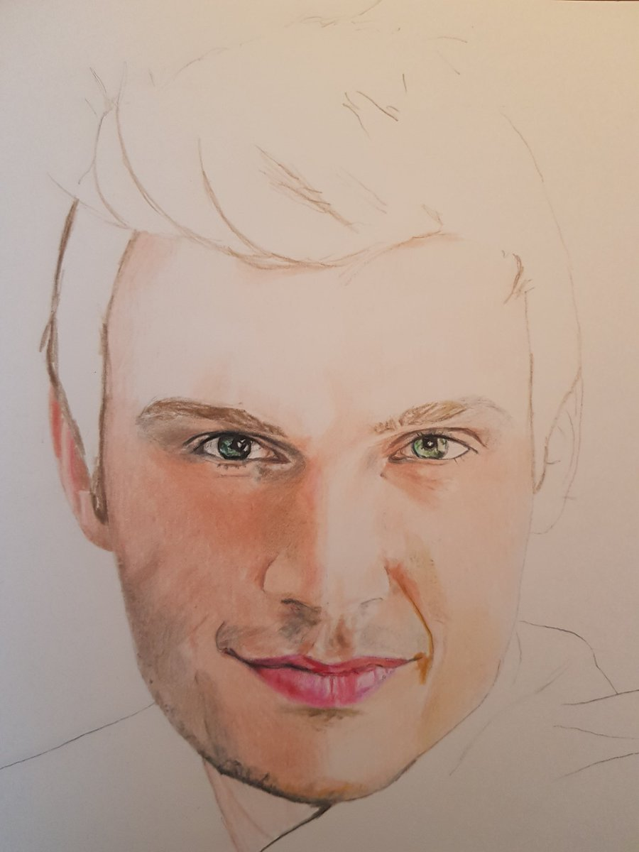 What better way to soothe my pain than with this man. So happy fingers still work....@nickcarter #colordrawing #fanartpic.twitter.com/o1bS5kvTil