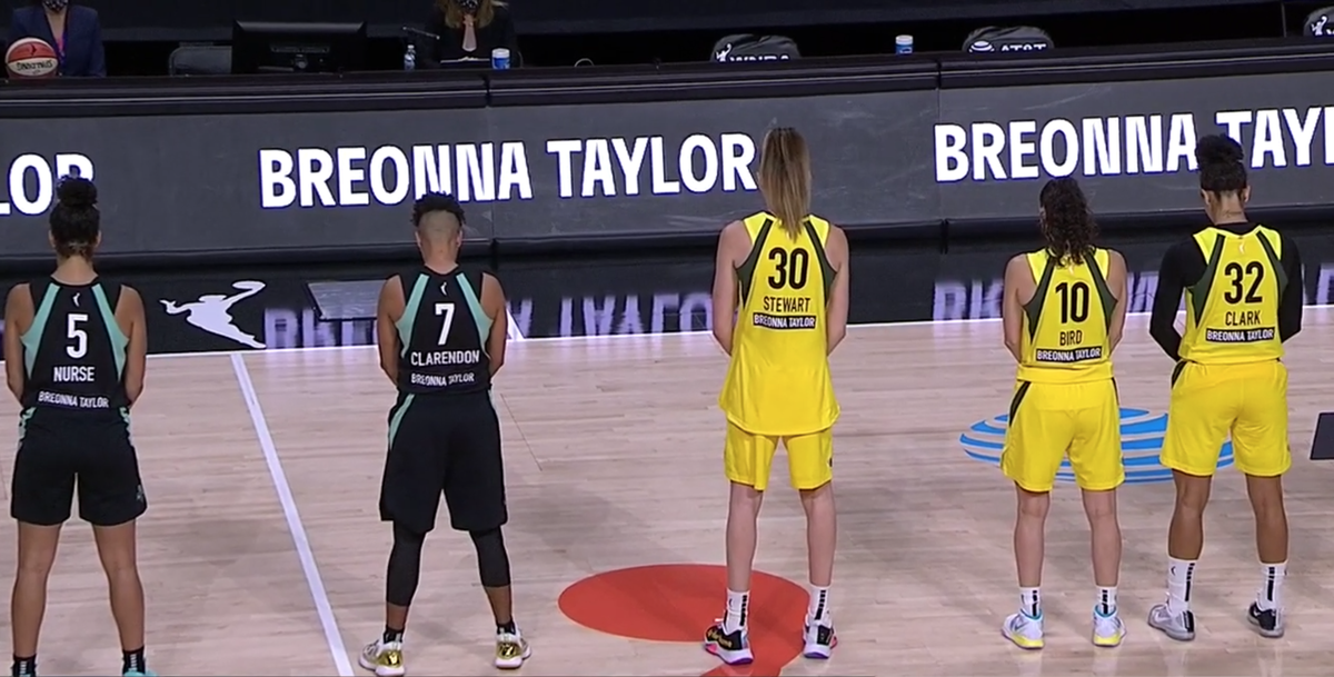WNBA players observe a 26-second moment of silence for Breonna Taylor before tip off Theyre all wearing Breonna Taylors name on the back of their jerseys