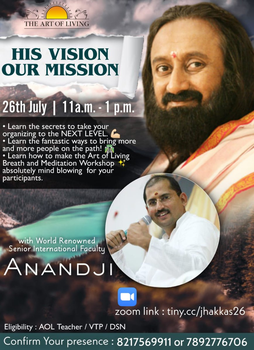 """""""HIS VISION OUR MISSION""""   ROCKSTAR @AOLAnand ji is back with the mission on Gurudev @SriSri Vision Join us for Dhamaka Session  Note: JOIN ONLY ONE GROUP for the link to join session https://t.co/5RyPimiPZO  https://t.co/TT5weedMpG  For Queries Call : 7892776706 #WorldMeditates https://t.co/BRJidE3cqZ"""