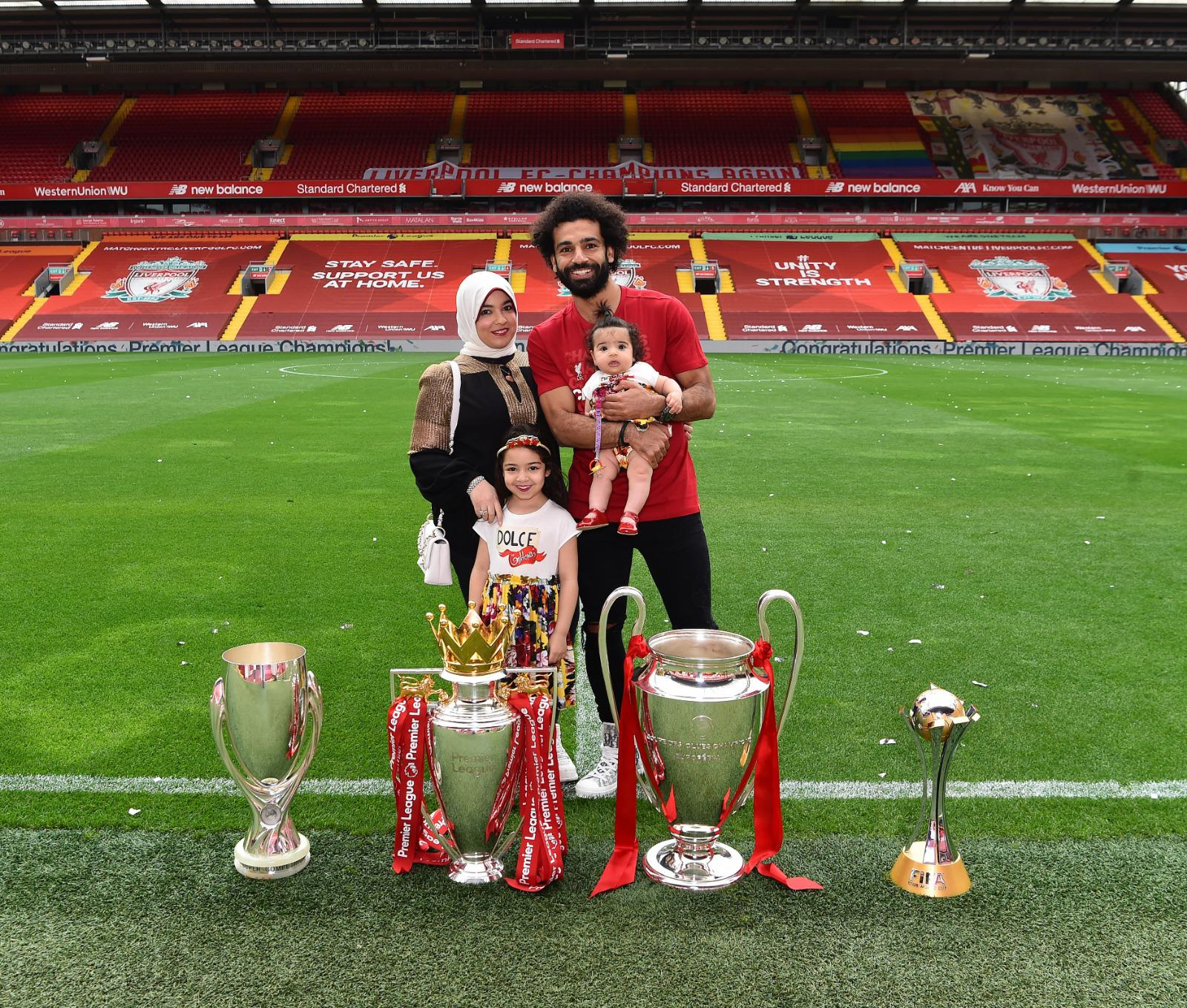 Mo Salah hat trick, mo salah leeds, mo salah english champion, mo salah liverpool leeds wife daughter