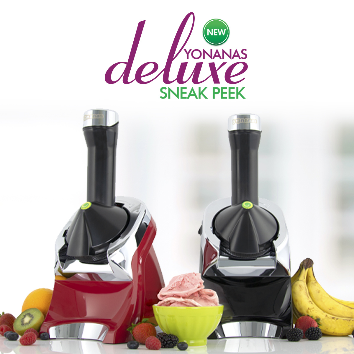 SNEAK PEEK: Meet the NEW Yonanas Deluxe!  There is now more YO to love with a premium chrome look and enhanced 75+ Recipe Book. Available for pre-order now: https://t.co/cEtX6FUJ8O https://t.co/E1OvvIf7vK