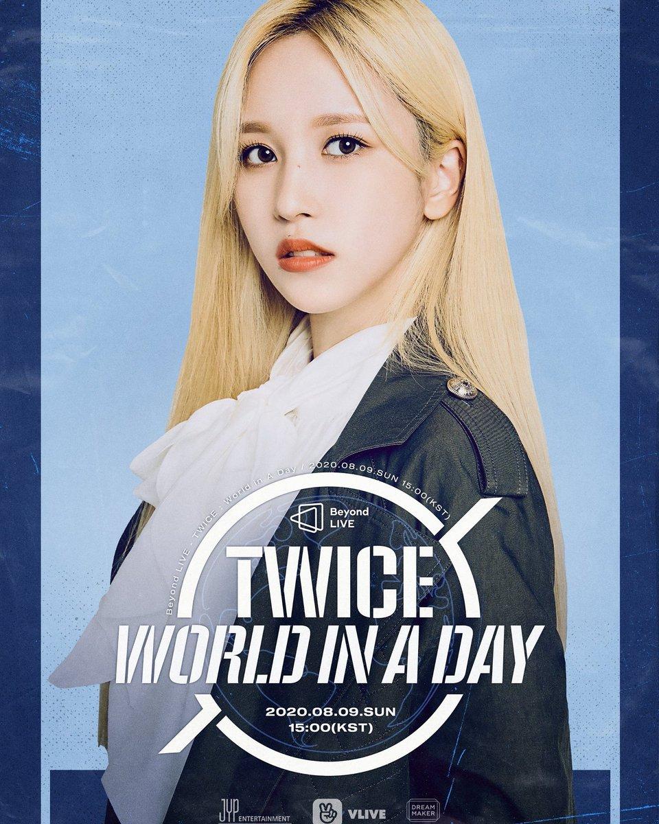#Imagen[25.07.20]😍 TWICE ONLINE CONCERT Beyond LIVE – TWICE: World in A Day .  Poster MINA . . Cr. JYPETWICE . .  #TWICE #트와이스 #TWICE_Beyond_LIVE #WorldinADay #Online_Concert @Twice_PY https://t.co/Kl9mguMMlN