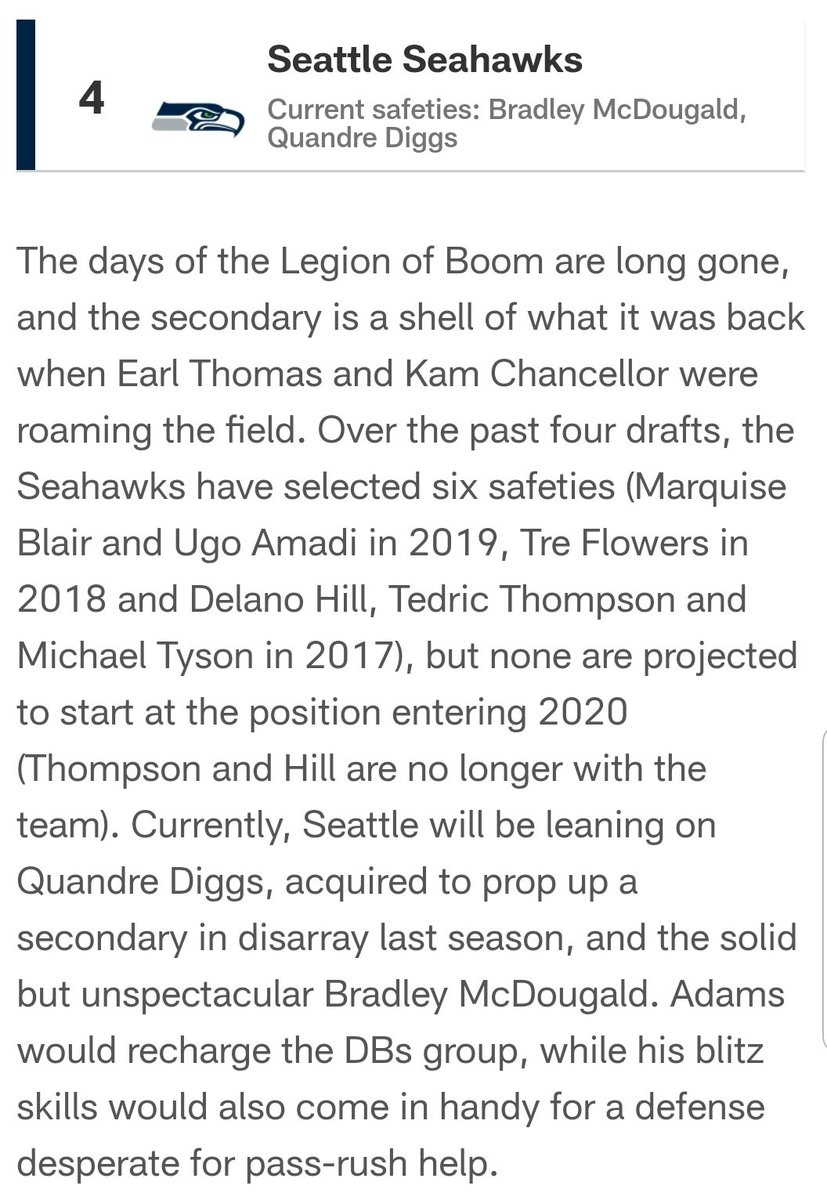 What I wrote a month ago when I listed the Seahawks as one of five trade fits for Jamal Adams.