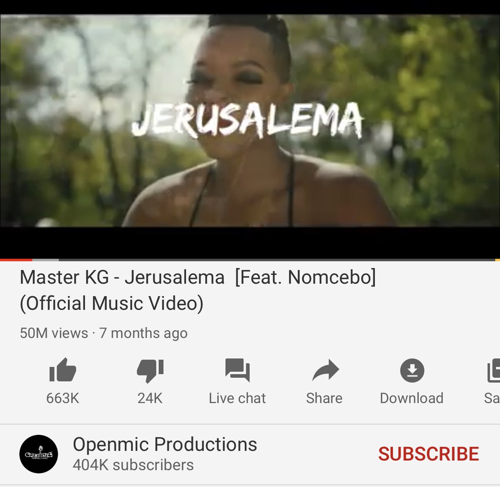 Jerusalema just reached 50 million views...  thank you to all of u all over the world for making this possible, your support means a lot to us 🙏.....South Africa 🇿🇦 together we have made it to the world,this is for all of us🍾🥇🥂♥️ @MasterKGsa boooy GOD is GOOD🙌🏻