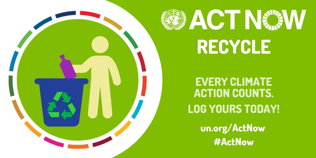 Reduce, reuse & recycle ♻! Also: Refuse Recover Repurpose Refurbish Repair Remanufacture Rethink Join the #ActNow movement, make small changes in your daily lifestyle so that less waste goes to landfill. un.org/actnow #ClimateAction