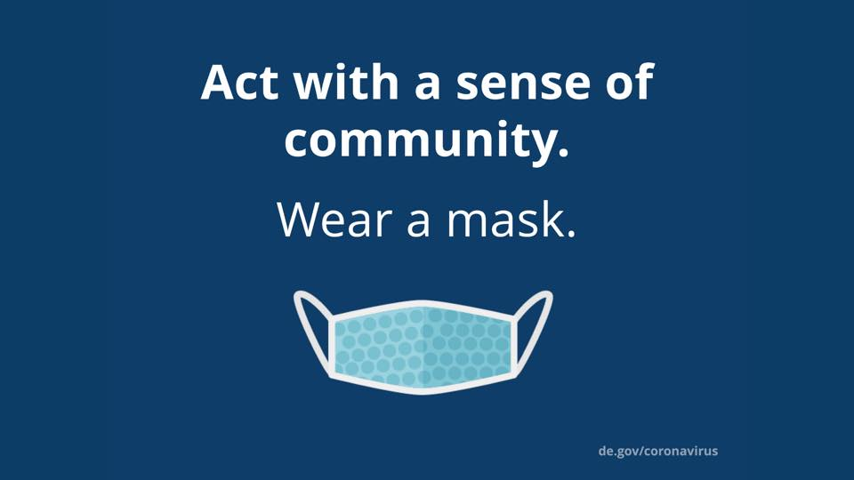 COVID-19 is still very present — now is not the time to start easing up on precautions. Wear a mask when you are in public. By wearing a mask, you show that you are concerned about your community and those around you. Stay safe and stay healthy. #WilmDE #netDE #COVID19DE