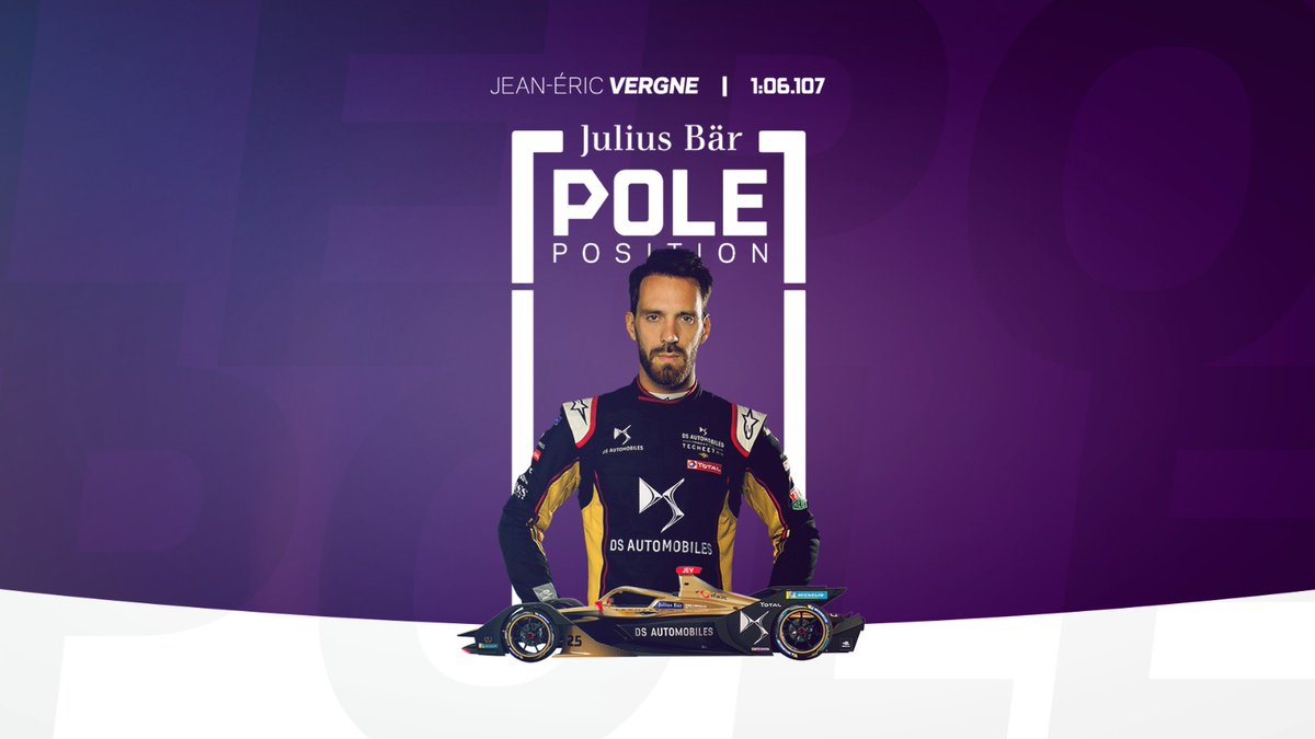 For the second race in a row @JeanEricVergne claims the @juliusbaer Pole Position for Round 9 of the #BerlinEPrix #SeasonSixFinale https://t.co/IR9tOYTr0S