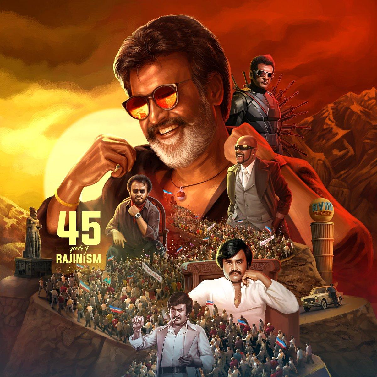 45 Years Of Pure Rajinism.!!   Wishing Him @rajinikanth sir More Years To Celebrate In Cinema ..... Best Wishes On Behalf Of All Thalapathy @actorvijay Fans & our Team @Vaniyambadi_Vmi #45YearsOfRajinismCDP #Masterpic.twitter.com/0pwusuH75p