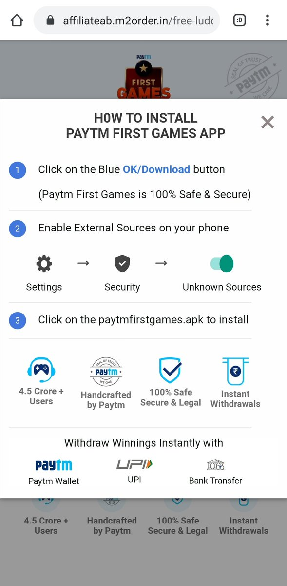 @GoogleIndia @Paytm @Paytmcare   This is the kind of shady practices @patm is applying.  Through this Paytm app it is redirecting its users to sideload and install apk files. It's is a breach of security in sorts.  @geekyranjit @beebomco @TechnicalGuruji @Techburner_slokpic.twitter.com/CaaEA3NRZ1