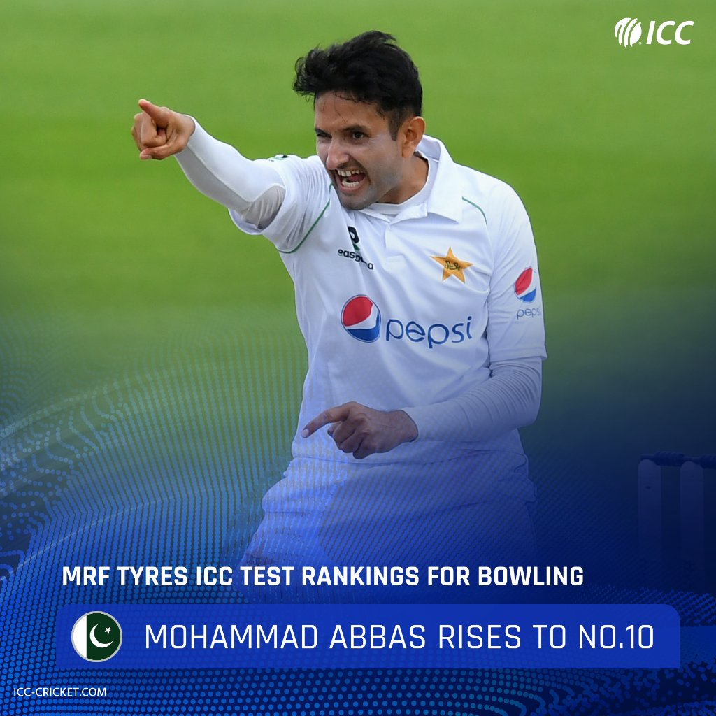 After claiming three wickets in the first #ENGvPAK game, Mohammad Abbas has entered the top 10 of the @MRFWorldwide ICC Test Rankings for bowling.  He shares the tenth spot with Josh Hazlewood 👏  Full rankings ▶️ https://t.co/AIR0KN4yY5 https://t.co/TU35vDDnWG