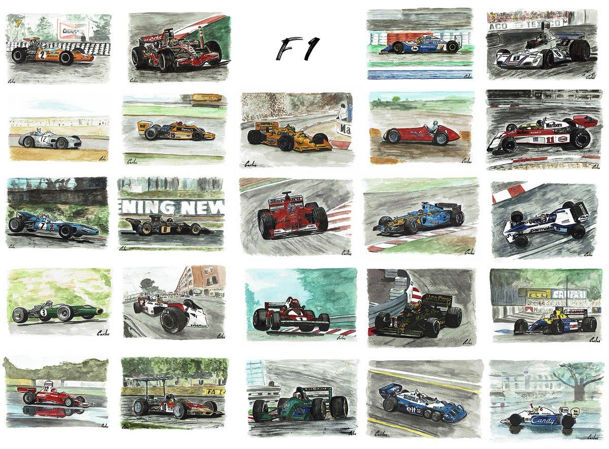 F1 70° aniversario 🏎🏎🏎🏎🏎  #art #watercolor #acuarela #arte #coches #cars #f1 #winner #lotus #ford #alfaromeo #senna #mclaren #mercedes #Schumacher #ferrari #monaco #alonso #Hamilton #lauda #nurburgring #renault #fitipaldi #clark #fangio #f1 #drawing #grahamhill #drawtodrive https://t.co/ws7OxqRM8J