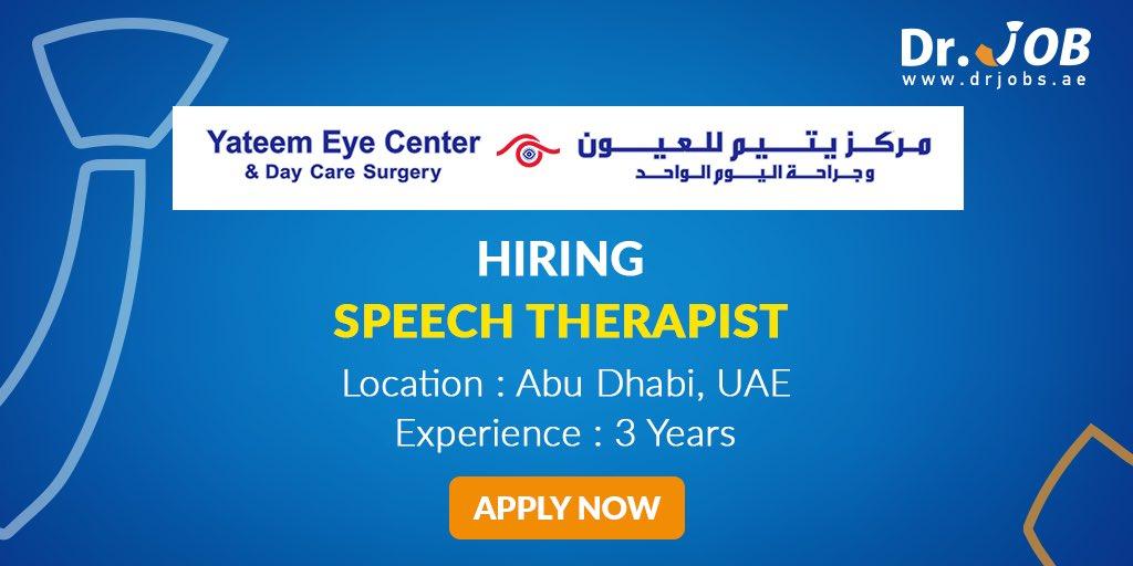 Job Of The Day❤️  Yateem Eye Center Is Looking To Hire Speech Therapist In Abu Dhabi.🇦🇪  To apply: https://t.co/YyY4NDaqkT  #job #career #jobvacancy #UAE #jobshiring #jobinterview #jobseeker #jobs #jobsinuae #jobsindubai #joboffer #Speechtherapist https://t.co/cvv2826xsK
