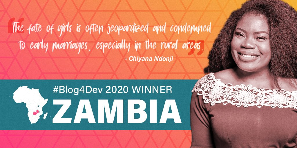 For Chiyana Ndonji, our #Blog4Dev 2020 winner for #Zambia 🇿🇲, we need to go back to our initial Ubuntu culture, the culture that sought the development of all and for all in order to #EndChildMarrriage. Read her blog and share your thoughts: wrld.bg/CvZ950ARP47