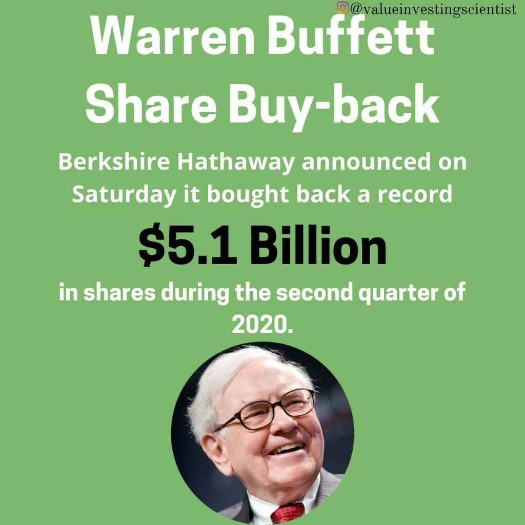Nearly double his last biggest share buy-back. Do you think this means Berkshire Hathaway is undervalued? • • • • • #warrenbuffet #business #money #entrepreneur #motivation #stockmarket #investing #jeffbezos #stocks #financialfreedom #billgates #… https://instagr.am/p/CDqobIMpyDK/pic.twitter.com/qylHvlVCJP