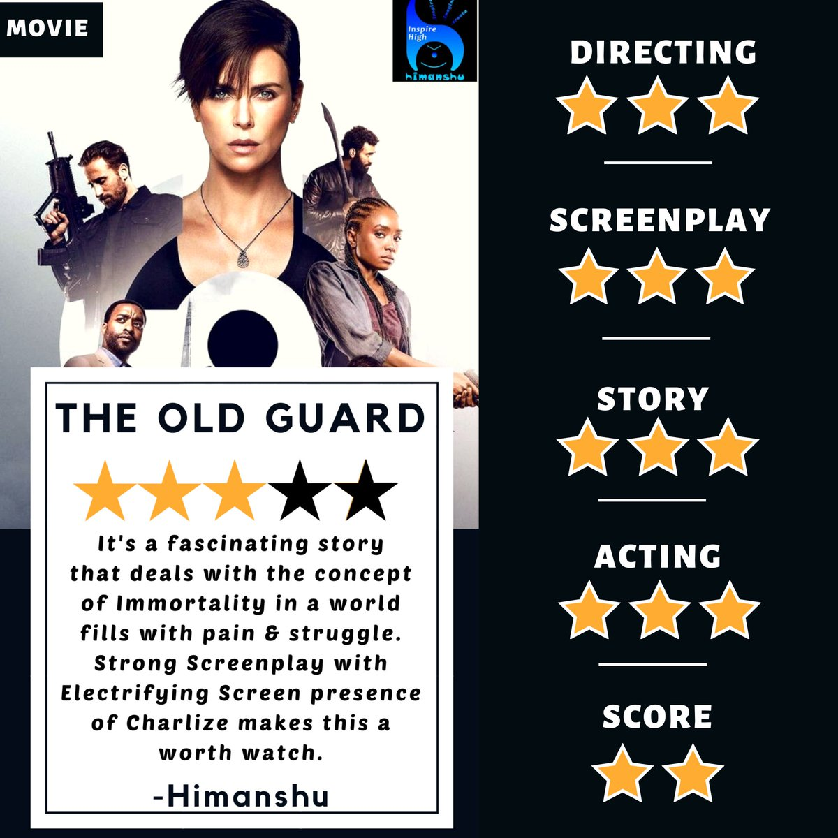The Old Guard (2020) - Rapid Review by Himanshu  Him Rating: 3/5   @CharlizeAfrica @netflix #netflixmovies #charlizetheron #theoldguardmovie #theoldguard #dramamovie #moviefan #movie #moviereviews #reviewpic.twitter.com/TvavcbiCwo
