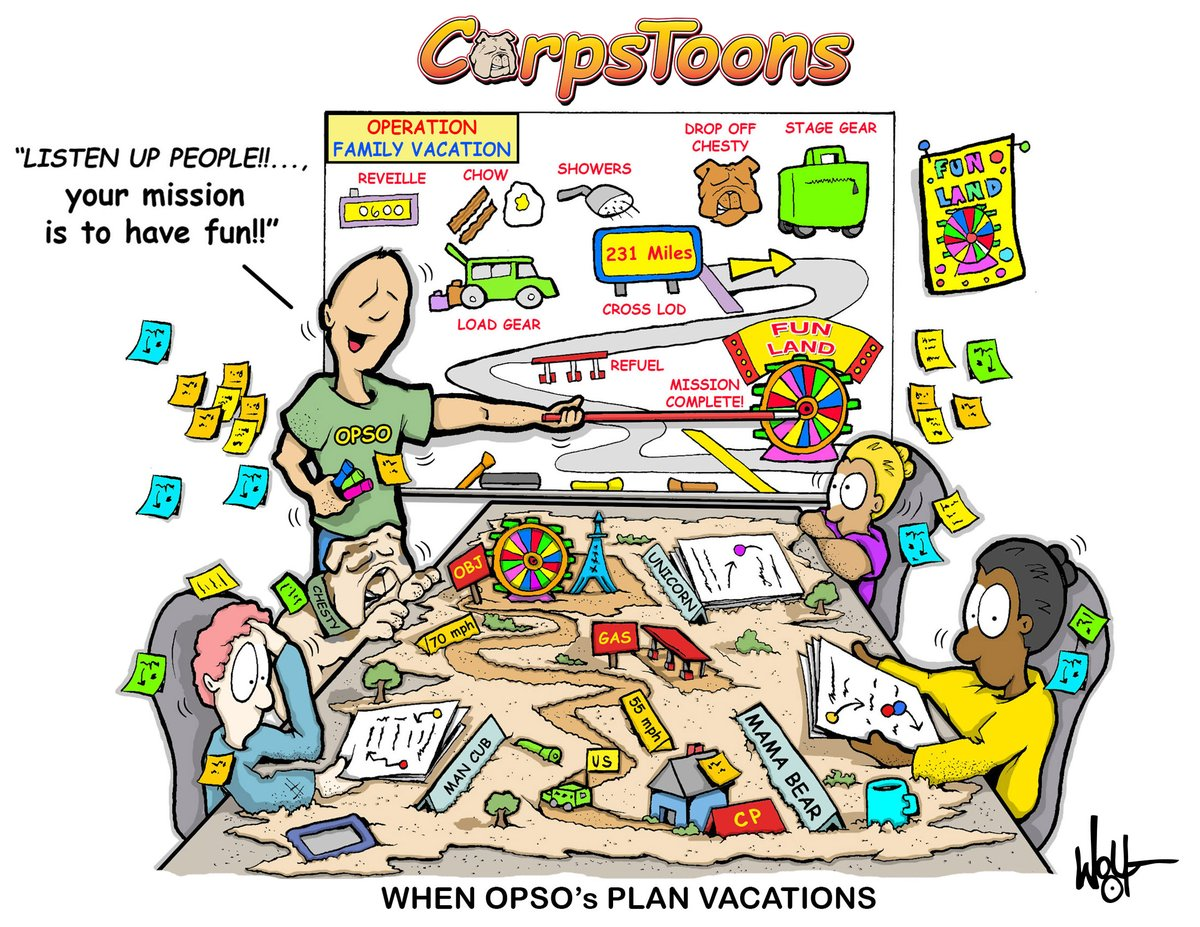 #whiteboarding  Operations Officers, they love it when a plan comes together! What type of vacation planning works for you?  #CorpsToons Sunday #OPSO #familyvacation #roadtrip #vaca #familyfun #whiteboard @marines @MCICOM_HQ  @3rdmaw @MCCSQuantico  @PacificMarines @MarForRespic.twitter.com/1bwhl511hJ