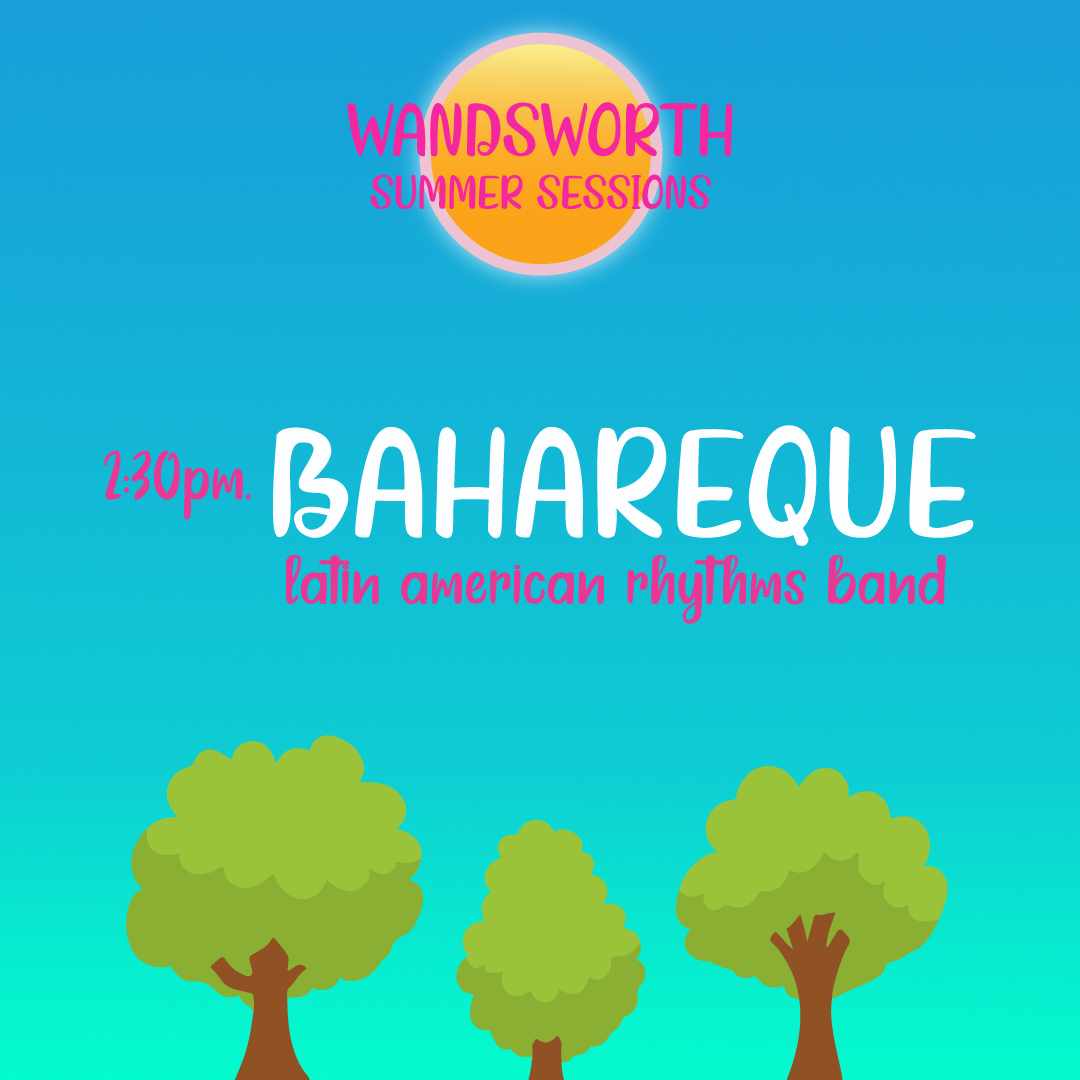 Bahareque are up next, our second act of this afternoons Bandstand performance. Bahareque will be bringing traditional Latin American rhythms to Battersea Park in 30 mins.   #loveparkswandsworth #loveparks #BatterseaPark #Familyfun #liveperformances #Wandsworthsummersessionspic.twitter.com/AhAn5CxpAz