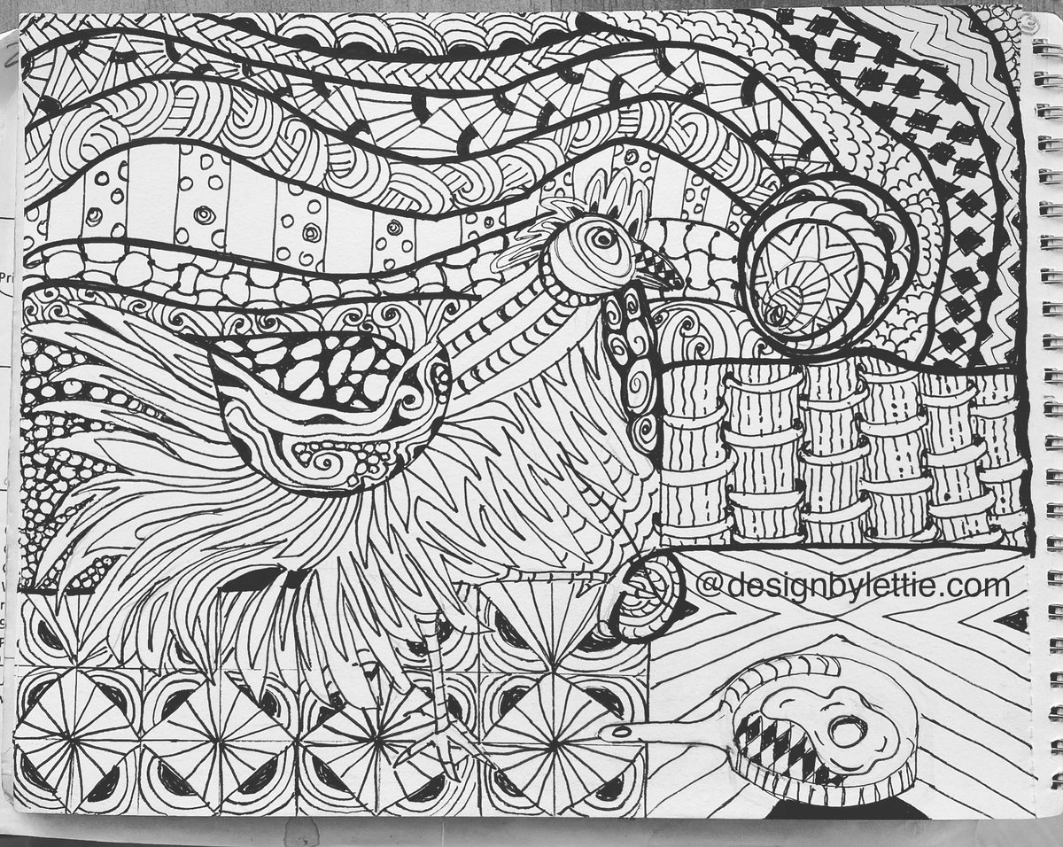Creating a Chickens color books. Great way to relax w ur mind. Keep u posted, hope to get 20 pg. done, then publish  #art #artist #artistsoninstagram #artsy #instaart #instagood #artoftheday #instaartist #instaabstract #zentangle #designbylettie #smallbusiness #supportlocalpic.twitter.com/xdb5tT1eXa