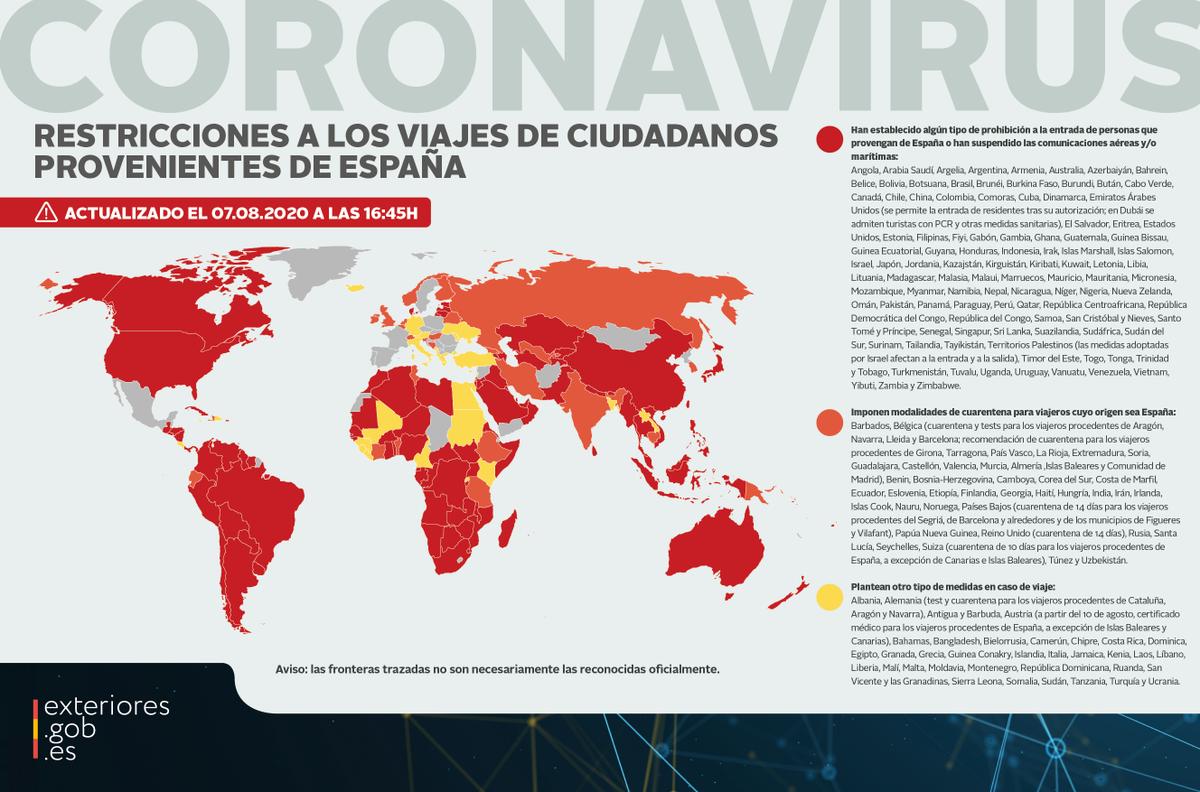 ✈️🚫Restricciones a los viajes de ciudadanos provenientes de #España ⤵️  ℹ️ Consulta en nuestra web la lista actualizada a las 16:45 horas de hoy:  ➡️https://t.co/PuaK2XGcNS https://t.co/s0dVBkhhH2