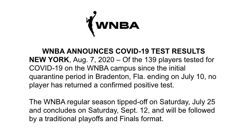 The WNBA announced the following: