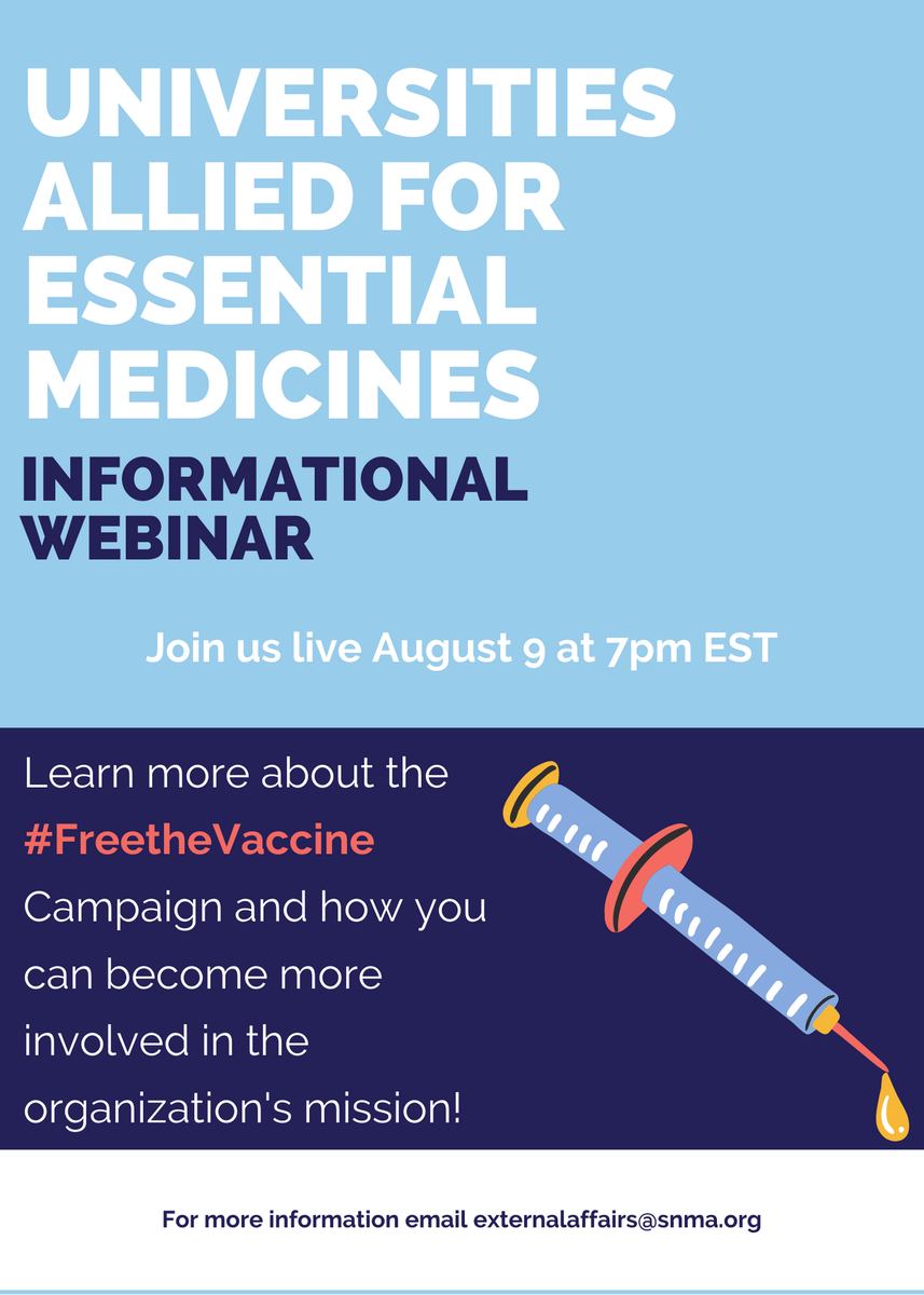 Are you interest in advocacy? Are you interested in global health? Well join us, this Sunday, in our joint webinar with Universites Allied for Essential Medicines @uaem. Register here: ow.ly/Chsu50ASrQ1