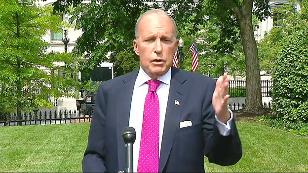 Kudlow told reporters at the WH driveway stakeout, that todays jobs report and drop in the unemployment rate to 10.2%, reinforces his belief that the rate will drop into the single digits, way before November.