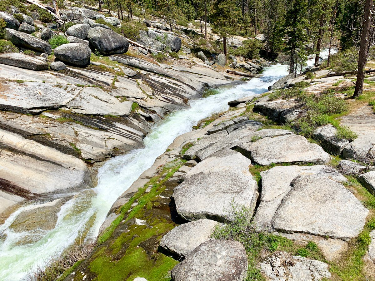Road Trip Day 8: Clover Creek, this ribbon of sudden activity in the quiet mountains, was mesmerizing, not just for the coolness and the splashing and the sense of relentless, natural intent. It was the curious colors and shapes of the scene. mappingthepath.com/day-8-kings-ca… #travel