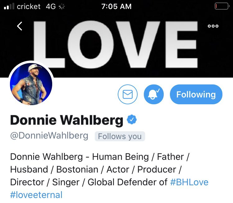 So I woke up this morning to see this and this girl is so happy @DonnieWahlberg you made my day thank you so much for following me I have waited a long time for this!! you are such a kind and wonderful person #loveeternal #spreadloveandlovewillspread❤️❤️♾🤟🏻🎉💃